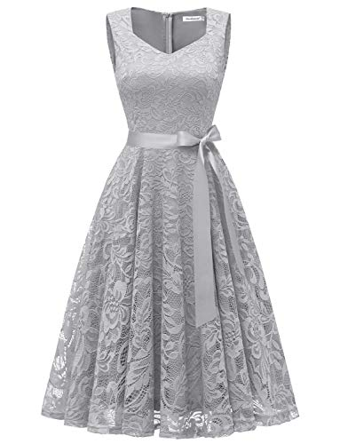 Gardenwed Elegant Floral Lace Bridesmaid Dresses Sleeveless V Neck Formal Dresses Cocktail Dresses for Women Grey S