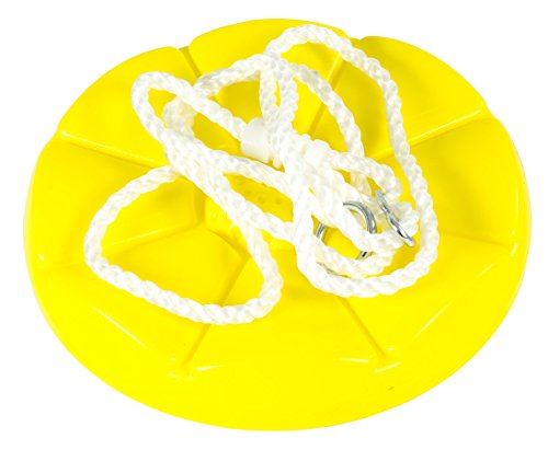 (Squirrel Products Heavy Duty Plastic Tree Swing - Disc Rope Swing- Swing Set Additions & Replacements - Outdoor Play Equipment - Yellow)