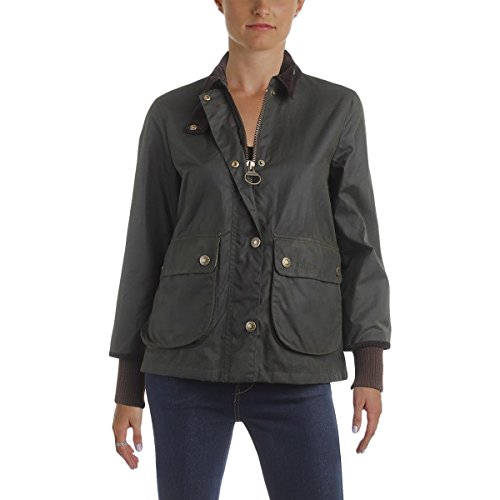 Barbour Womens Waxed Long Sleeves Basic Jacket Green 8