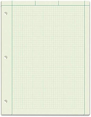 TOPS Engineering Computation-Pad, 21,6 x 27,9 cm, Kleberückseite, 5 x 5 karierte Lineale auf der Rückseite, grünes Tönungspapier, 3-fach gelocht, 600 Blatt (35500)