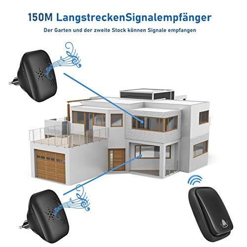 Batterielose Funkklingel Aussen mit 2 Empfängern IP68 Wasserdicht Türklingel Funk 150m Reichweite 4 Lautstärkestufen 38 Klingeltöne Funkklingel Außenbereich