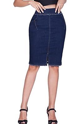 naafii High Waisted Denim Jean Skirt with Stretch