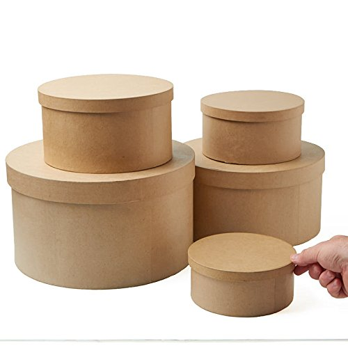 Factory Direct Craft Unfinished Round Graduated Size Paper Mache Boxes with Lids for Crafting - 5 Boxes