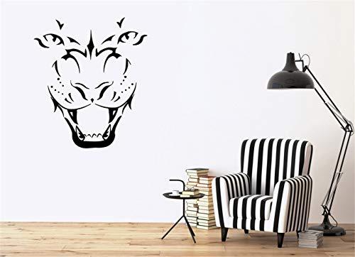 zdcvdv Mural Saying Wall Decal Sticker Art Mural Home Decor Quote Tiger Head Silhouette Grin Animal Predator Tribal