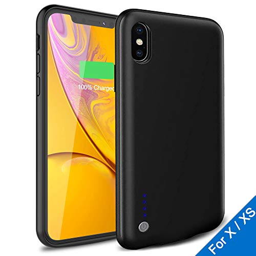Battery Case for iPhone X/XS 3800mAh, Ultra Slim Protective Portable Rechargeable iPhone X/XS Battery Case Extended Battery Pack Charging Case for iPhone X/XS (5.8 inch) Black