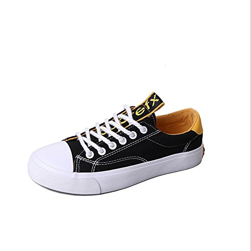 Zapatos de mujer de lona de primavera Comfort Zapatillas de tacón plano punta redonda para Casual New Ladies de lona de mujer Zapatillas de deporte unisex-adulto GAOLIXIA Black