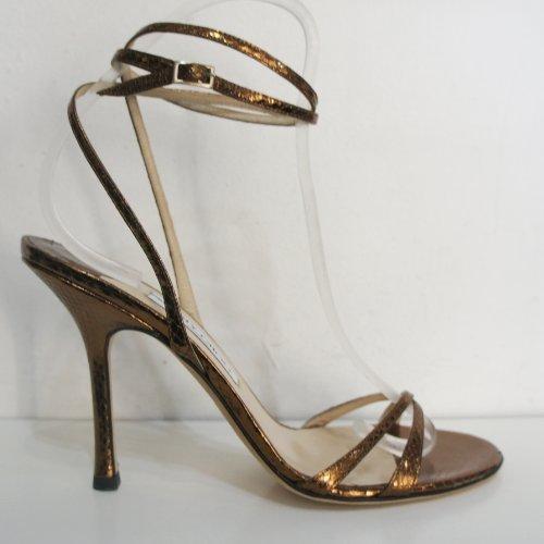 Jimmy Choo Brons Shimmer Alle Leer Strappy Sandaal