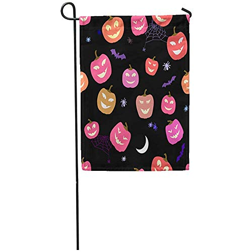 Starowas Garden Flag 12x18 Inches Print On Two Side Polyester Funny Cute Halloween Pattern Pumpkins and Spiders Horror Others Home Yard Farm Fade Resistant Outdoor House Decor Flag ()