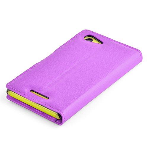 Cadorabo - Funda Sony Xperia E3 Book Style de Cuero Sintético en Diseño Libro - Etui Case Cover Carcasa Caja Protección (con función de suporte y tarjetero) en VIOLETA-DE-MANGANESO VIOLETA-DE-MANGANESO
