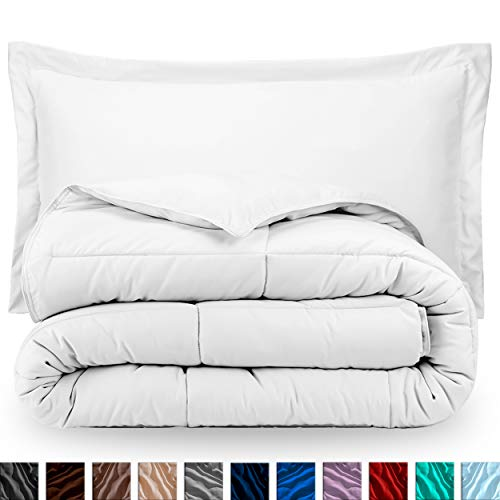 Bare Home Comforter Set – Oversized Queen – Goose Down Alternative – Ultra-Soft – Premium 1800 Series – Hypoallergenic – All Season Breathable Warmth (Oversized Queen, White)