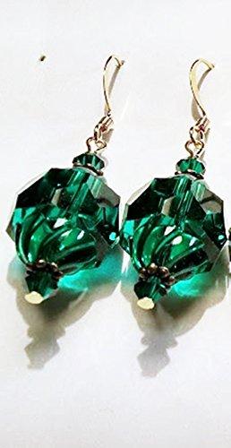 Emerald Swirl Table Cut Vintage Crystal Drop Earrings (Emerald Vintage Crystal)