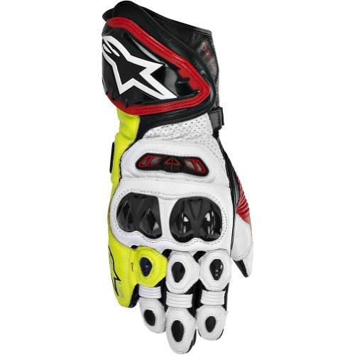 Alpinestars GP Tech Men's Leather Street Bike Racing Motorcycle Gloves - Black/Red/Flourescent Yellow / Small