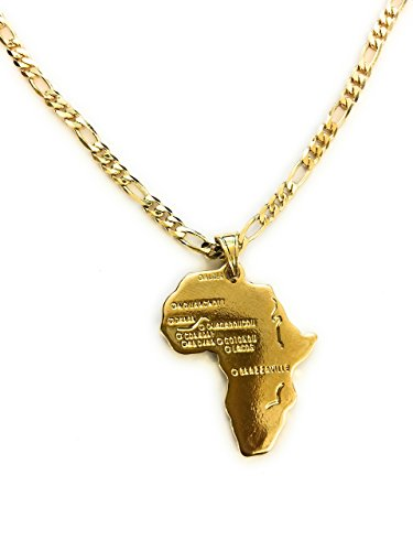 Black White Gold Boutique Africa Continent Pendant 24k Gold Plated Chain-Unisex-Thick 24 Inch Gold Chain Necklace-Gold Africa Pendant from Black White Gold Boutique