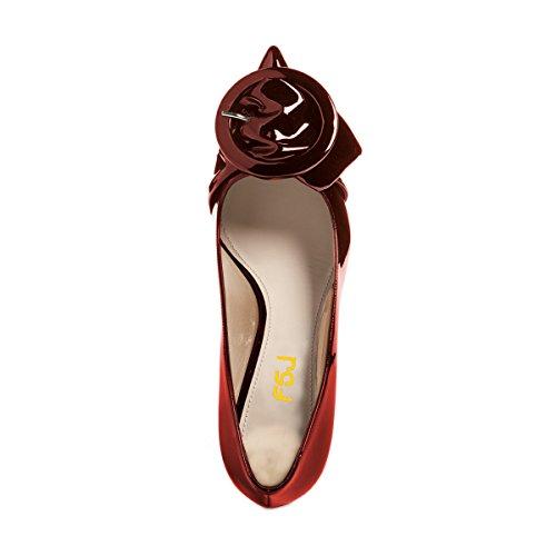 Fsj Scarpe Classiche Da Donna A Punta Rovesciata Con Brevetto Slip On Kitten Scarpe Con Tacco Basso Con Fibbia Taglia 4-15 Us Rosso