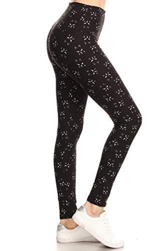 LY5X-R988 Long Lash Cat Yoga Print Leggings, Plus Size
