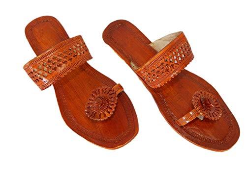 M&N – Women's Leather Kolhapuri Handcrafted Sandal – Paduka Style Wedge Heel