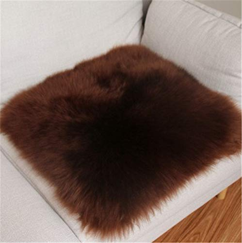 Genuine Sheepskin Square Car Interior Seat Cover Natural Fur Wool Soft Warm Non-Slip Car Seat Cushions Universal Fit for Comfort in Auto Car Plane Office Home(Coffee,1.3ftx1.3ft)