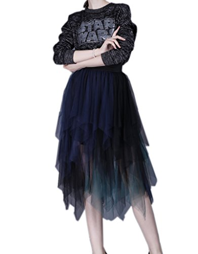 ELE GENS Damen Tüllrock Faltenrock Rock A-linien Petticoat Tütü Tutu Sommer  Blau Ydhuecjnbc c2398505b9
