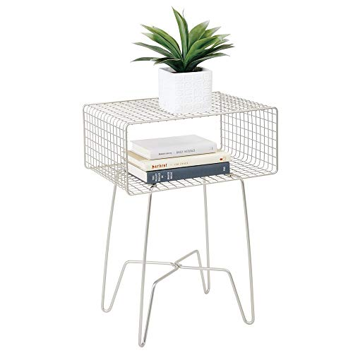 mDesign Modern Farmhouse Side/End Table - Metal Grid Design - Open Storage Shelf Basket, Hairpin Legs - Sturdy Vintage, Rustic, Industrial Home Decor Accent Furniture for Living Room, Bedroom - Satin (End Cube Glass Table)