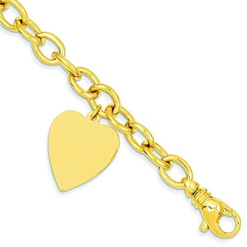 Bracelet Charm 14 carats Cœur - 19 cm-Fermoir mousqueton-JewelryWeb
