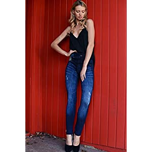 ICONOFLASH Women's Sublimation Leggings Printed to Look Like Jeans