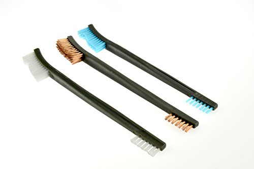 SE 7614GCB-3 Double Ended Gun Cleaning Brush Set, Nylon Plastic and Copper Bristles, 3 Piece (Double Pistol Set)