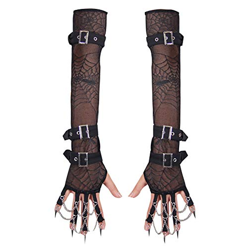Sexy Women Disco Dance Costume Spiked Pendant Spider Web Long Mittens Hip-Hop Performers Delight Temptation Nightclub Punk Goth Gloves,Black,L ()