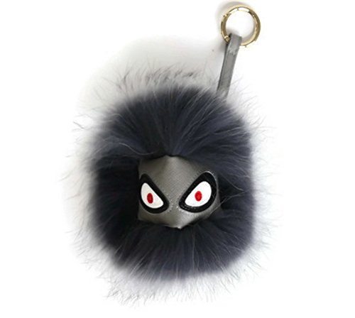 AURORA168 Mink Fox Fur Monster Bugs Pom Pom Doll Ball Key Ring/ Keychain /Bag Charm (Mini gray 1) (Racoon Tail)