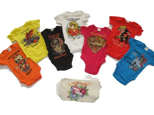 Ed Hardy Baby Girls 7 Days of the Week Onesie One Piece 7 Pc Set *Free Priority* (0/3 (Ed Hardy Baby Girl)
