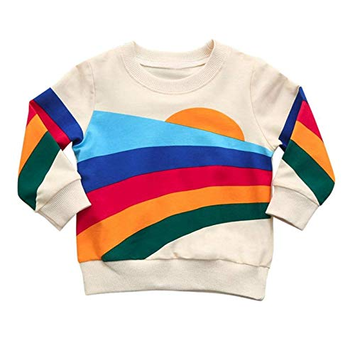 Younger star Baby Girls Springtime Soft Rainbow Top Blouse Long Sleeve Toddler Casual Tops - Retro Toddler Shirts