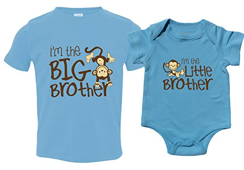 Boys Little Brother Big Brother Shirts with Monkey, Includes Size 4 and 0-3 mo