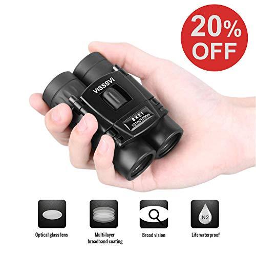 VISSSVI 8x21 Small Compact Lightweight Binoculars for Adults Kids Bird Watching Traveling Sightseeing Mini Pocket Folding Binoculars for Concert Theater Opera