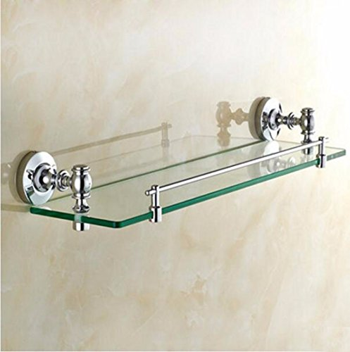 SJQKA Towel rack All Copper Bathroom Glass Shelf Single Layer Cosmetics Rack Bathroom Mirror Front Frame With Towel Rod by SJQKA