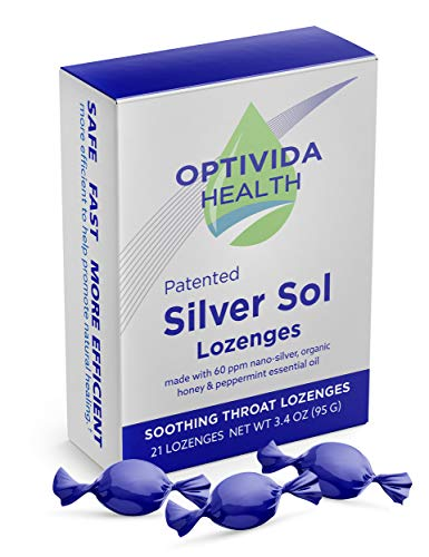 Optivida Health – Nano-Silver Sol Lozenges 60PPM – Fast-Acting Cough Drops with Lemon Oil, Organic Honey and Organic Peppermint Oil for Immune Support – 21 Individually Wrapped Pieces