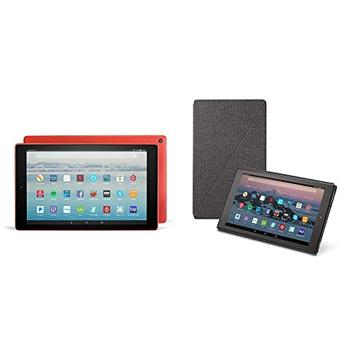 Fire HD 10 Tablet (32 GB, Punch Red, With Special Offers) + Amazon Standing Case (Charcoal Black)
