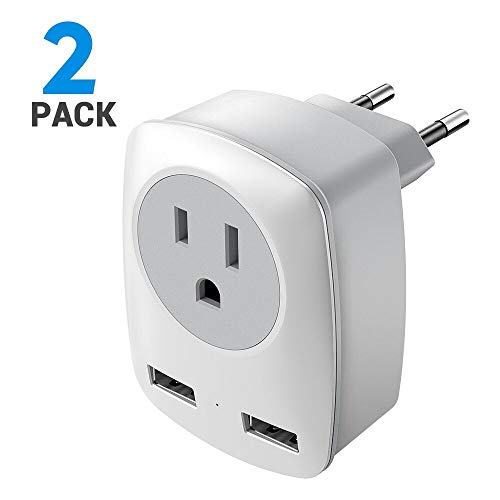 European Plug Adapter, 2 Pack US to Europe International Travel Plug European Adapter, Plug Type C Adapter with 2 USB Ports for Italy, Germany, France, Greece, etc (White) (Greece Adapter European Italy)
