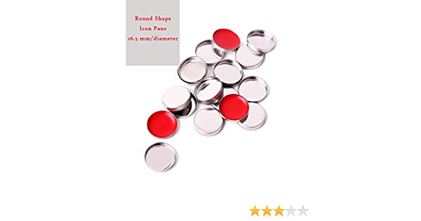 empty Metal hierro sartenes Round-Shape cosméticos contenedor de pigmentos para paleta de maquillaje magnético 16,5 mm/diámetro, metallic silver, ...