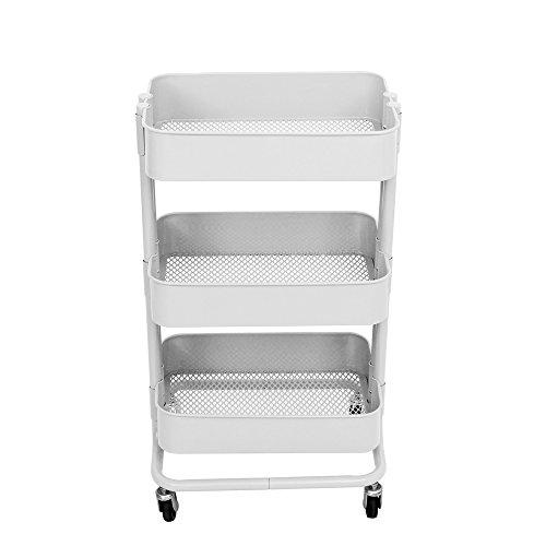 ALEKO TUC01WH Lightweight Carbon Steel 3-Tier Rolling Utility Trolley Cart ()