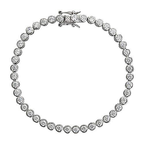 Decadence Women's Sterling Silver 2mm Round Cut Bezel Set Tennis Bracelet, - Inch 3mm Round 7 Bezel