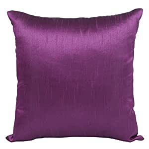 The White Petals Set of 2 Purple Art Silk Pillow Covers, Plain Silk Cushion Cover, Solid Color Purple Throw Pillow, (20x20 inches, Purple)