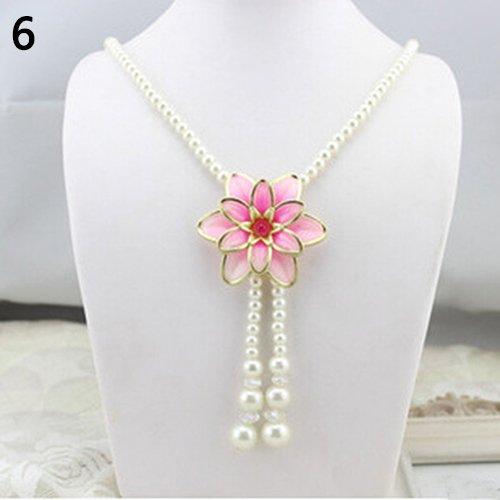 Meenanoom Women's Elegant Pearl Flower Sweater Chain Long Pendant Necklace Jewelry Grand