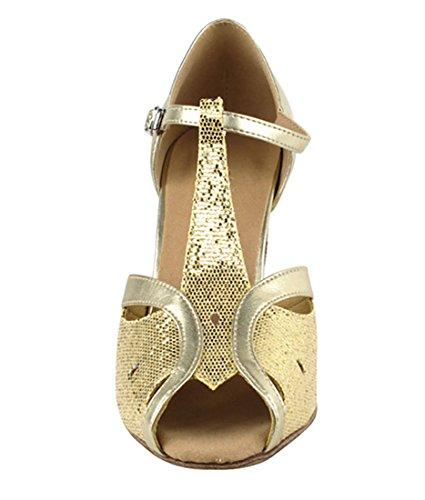 Very Fine Ballroom Latin Tango Salsa Dance Shoes for Women SERA2800 2.5-inch Heel + Foldable Brush Bundle - Gold Scale-Light Gold - 7.5 by Very Fine Dance Shoes (Image #3)