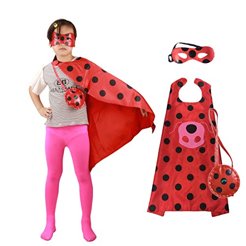 GREATCHILDREN Ladybug Halloween Christmas Costume for Girls Cosplay Kids Party Clothes Mask Superman -