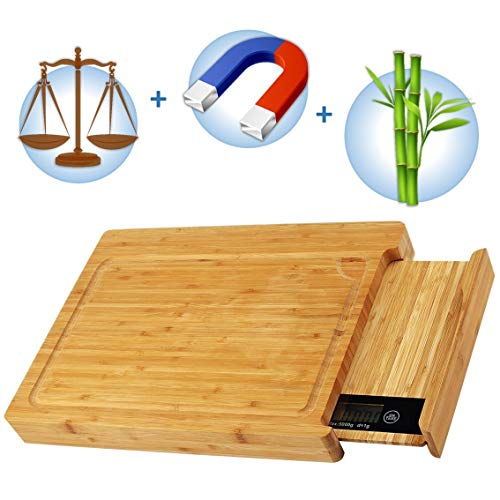 ButtOn Bamboo Chopping Cutting Board with Digital Kitchen Scale & Magnetic Knife Holder - Eco-Friendly and Safe & Sturdy – Smart Groove for less Mess – Tare Function – Compact 3-in-1 Kitchen Accessory