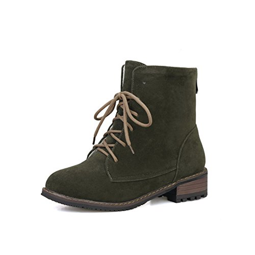 Amoonyfashion Mujer Lace Up Round Closed Toe Low Heels Low Top Botas Verde