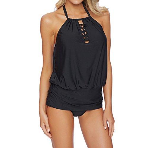 SUNNOW Moda donna collo alto bikini Black Criss-Cross & Top a schiena scoperta Beachwear costume da bagno Nero