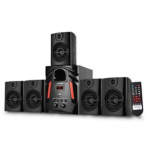 KRISONS Multimedia Speaker   App Controlled, Bluetooth Supporting Home Theatre   USB, AUX, LCD Display, Built-in FM, Recording, Remote Control (Black, 5.1 Channel)