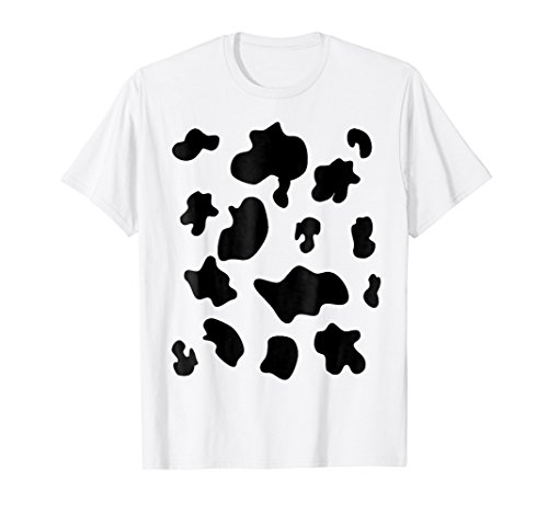 Mens Last Minute Halloween Costume Shirt Cow Pattern Spots Large White ()