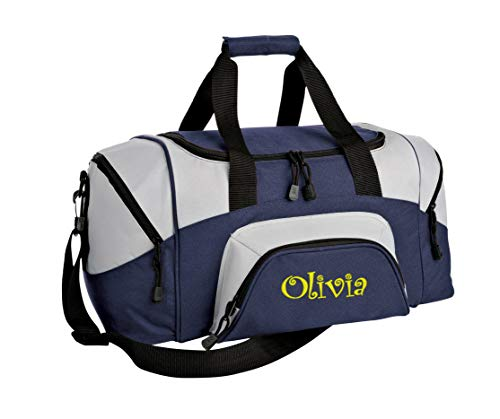 All about me company Small Sport Duffel Bag | Personalized Monogram/Name Gym Bag (Navy/Grey)