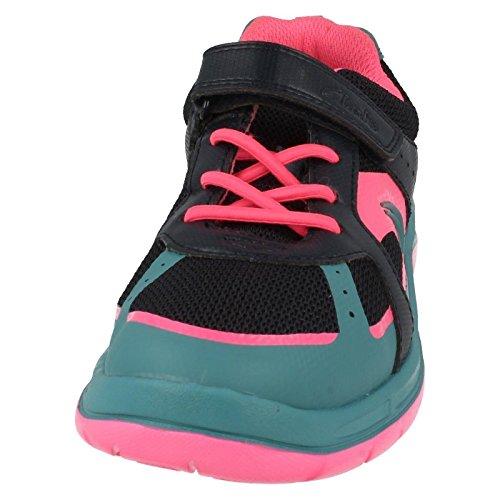 Clarks Bolzen Sie Atom Junior Girls Schuhe in Marine Navy Combi 1½ G